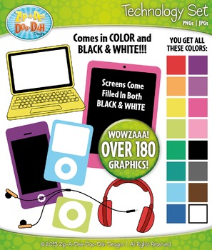 Rainbow Technology Clipart Set — Over 180 Graphics!