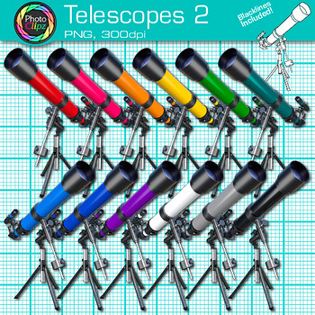 Rainbow Telescope Clip Art {Astronomy Graphics for Solar System Resources} 2