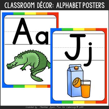 Rainbow Theme Alphabet Posters