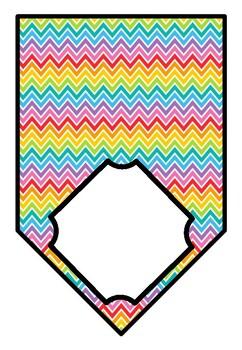 Rainbow Chevron Theme, Bulletin Board, Door Decor, Blank Pennant Banners