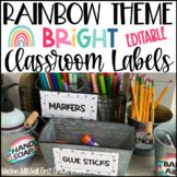 Rainbow Theme Classroom Decor Labels