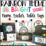 Rainbow Theme Classroom Decor Name Tags, Locker Tags, Table Tags, & More