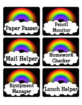 Rainbow Theme Classroom Job Cards - Includes Blank Cards