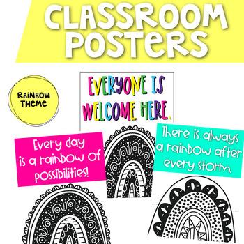 Rainbow Theme Classroom Posters | Classroom Posters Freebie