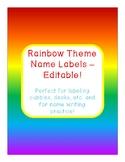 Rainbow Theme Name Labels - Editable!