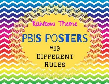 Rainbow Theme PBIS Posters