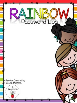 Rainbow Theme Password Log *FREEBIE!*