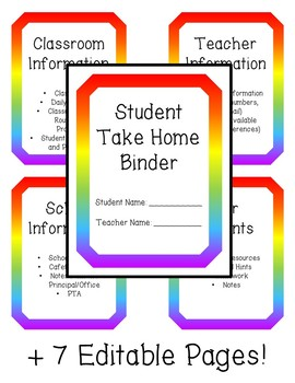 Rainbow Theme Student Binder - with Editable Pages!