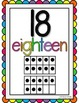 Rainbow Theme Ten Frame 0-20 Number Posters
