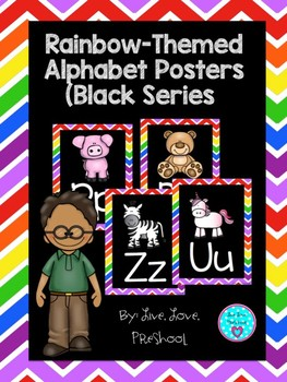 Rainbow-Themed Alphabet Poster Set (Black Series)