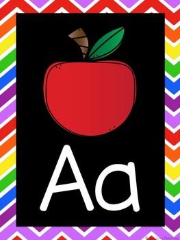 Rainbow-Themed Alphabet Poster Set (Black Series)