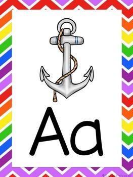 Rainbow Themed Alphabet Posters