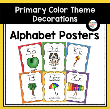 Primary Colors Alphabet Posters (Rainbow Theme Classroom Decor)