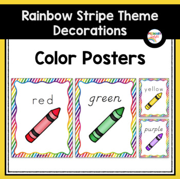 Color Word Posters Rainbow Stripe Classroom Decor