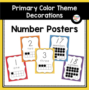 Number Posters with Ten-Frames: Primary Colors (Rainbow Theme Classroom Decor)