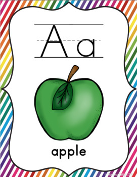 Rainbow Themed Classroom Decorations: Rainbow Stripe Alphabet