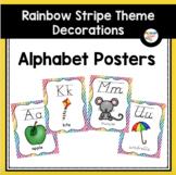Alphabet Posters with Rainbow Stripes (Rainbow Theme Classroom Decor)