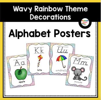 Rainbow Themed Classroom Decorations: Wavy Rainbow Alphabet