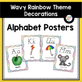 Alphabet Posters with Wavy Rainbow Borders