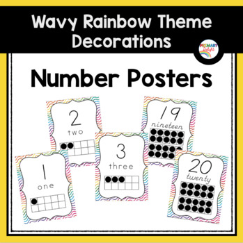 Number Posters with Ten-Frames (Wavy Rainbow Classroom Decor)