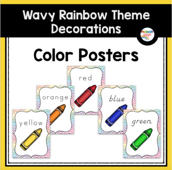 Color Word Posters (Wavy Rainbow Theme)