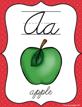 Cursive Alphabet Posters in Primary Colors (Rainbow Theme Classroom Decor)