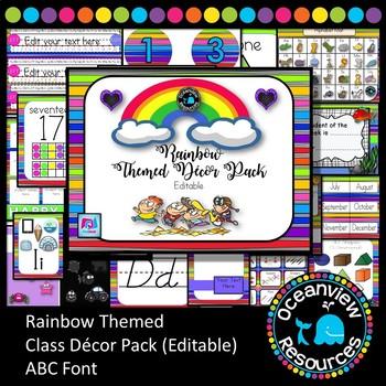 Rainbow Themed Decor Pack.  ABC font editable Christmas in July