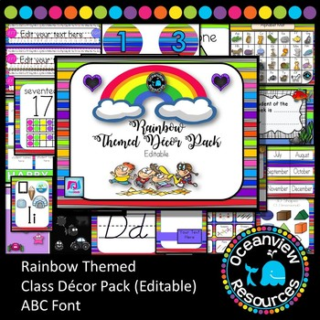 Rainbow Themed Decor Pack.  ABC font editable (Back to school )