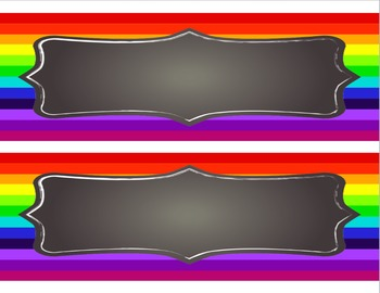 Rainbow Themed - Desk Name Tag Template
