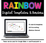 Rainbow Themed Google Slides (TM) and Powerpoint (TM) Borders and Backgrounds