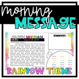Rainbow Themed Morning Message Templates - Customize + Morning Meeting Slides