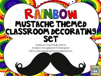 Rainbow Themed Mustache Classroom Decor Set:  EDITABLE