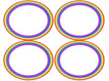 Rainbow Themed Oval and Circle Frames Clipart