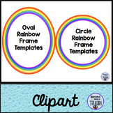 Rainbow Themed Oval and Circle Frames Clipart