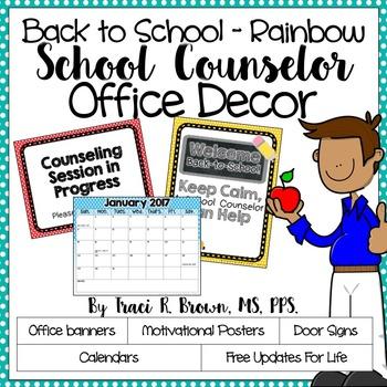 2016 - 2017 Back to School Rainbow School Counselor Office Décor