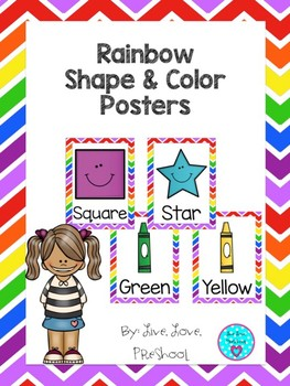 rainbow themed shape and color posters by live love preschool tpt