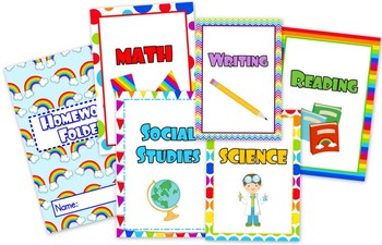 Rainbow Themed Student Binder Covers