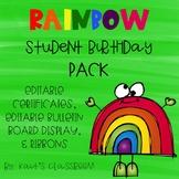 Rainbow Themed Student Birthday Pack-Editable!