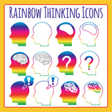 Rainbow Thinking Icons Clip Art Set for Commercial Use