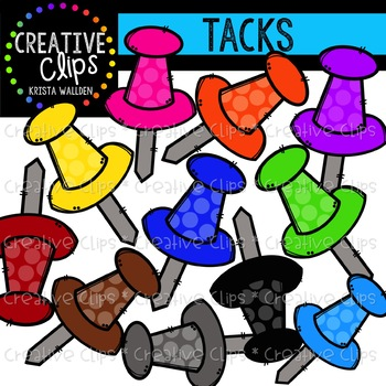 Rainbow Thumbtack Clipart {Creative Clips Clipart}