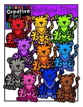 Rainbow Tigers {Creative Clips Digital Clipart}