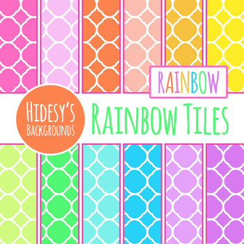 Rainbow Tiles - Digital Papers / Backgrounds Clip Art Commercial Use