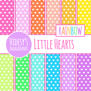Rainbow Tiny Hearts Digital Papers / Backgrounds Clip Art Set for Commercial Use