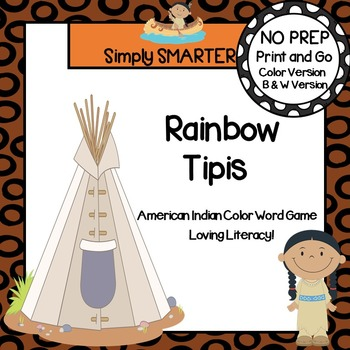 Rainbow Tipis:  NO PREP Color Word Spin and Cover Game