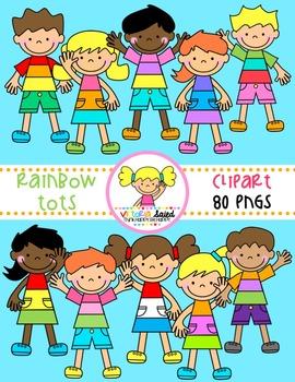 Rainbow Tots {Kids Clipart}