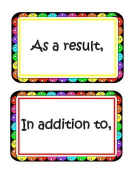 Rainbow Transitional Words and Phrases Flashcards  for 4th Grade Writing