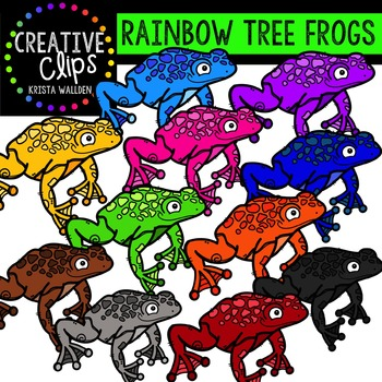 Rainbow Tree Frogs {Creative Clips Digital Clipart}