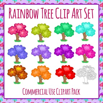 Rainbow Trees Clip Art Pack for Commercial Use