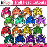 Rainbow Troll Clip Art {Glitter Gnome Heads for Bulletin B