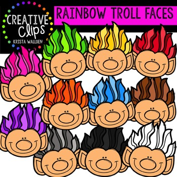 Rainbow Troll Faces {Creative Clips Digital Clipart}